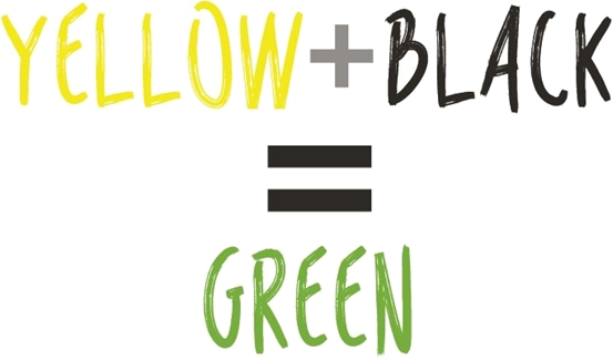 Yellow PLus Black Equals Green